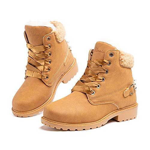 Botas Mujer Invierno Botas de Nieve Cálido Zapatos Botines Forradas Planas Snow Boots Antideslizante Calzado Comodos Cordones Caqui-1 37 EU
