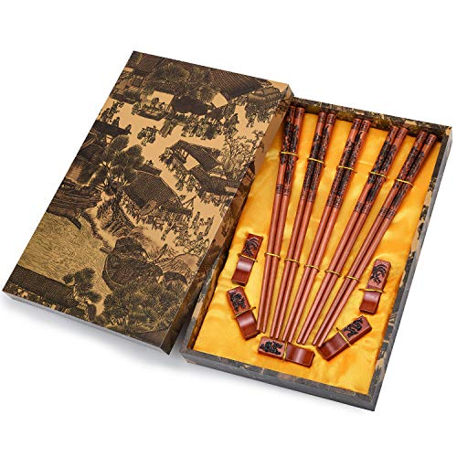 Chopsticks Reusable Chinese Chopsticks Dragon and Phoenix Carve on Chopsticks with Holder, Carrying Bag Chopsticks Set with Unique Package(5 pairs)
