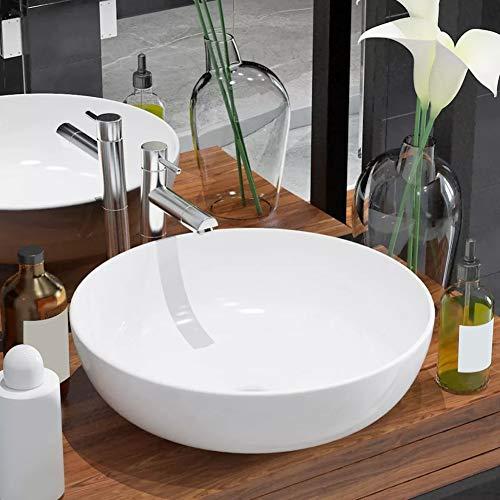 GOTOTOP Lavabo sobre Encimera Blanco, Lavabo de Cerámica Redondo para baño 41,5 x 13,5 cm