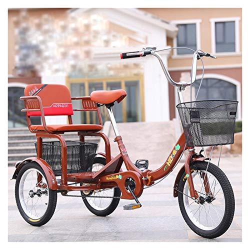 ZFF Plegable Triciclo para Adultos con Esportón Y Asiento Trasero 16 Pulgadas Tres Ruedas Bicicletas por Personas Mayores Mujeres Hombres Ocio Picnics Y Compras (Color : Brown)