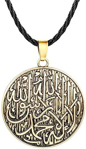 BACKZY MXJP Collar con Colgante De Letras Árabes De Plata Antigua, Amuleto, Accesorios De Joyería Redondos De Bronce Religioso, Regalo Étnico