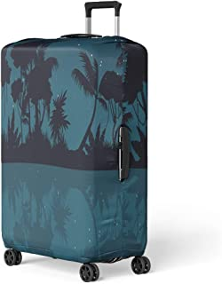 Luggage Cover Green Leaf Lake Scenery on Jungle Silhouette at Night Travel Suitcase Cover Protector Baggage Case Fits 22-24 Inch