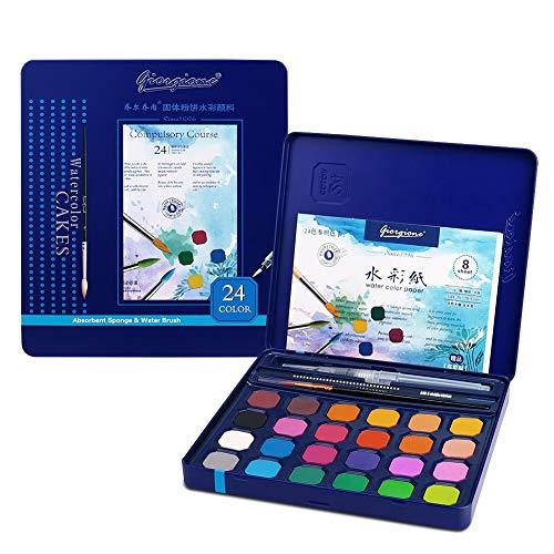 Kids Watercolor Paint Set, 24 Vibrant Colors Paint Kits, Art Supplies Painting Gifts for Adult, Teenager, Artists, Paint Supplies with Watercolor Paint Brush Pens, Palette, and Durable Storage Case
