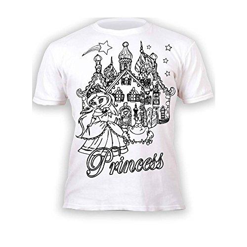 Camiseta infantil de princesa. Para pintar y colorear con preimpresión. Incluye 6...