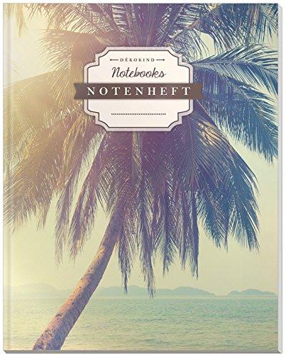 DÉKOKIND Notenheft | DIN A4, 64 Seiten, 12 Notensysteme pro Seite, Inhaltsverzeichnis, Vintage Softcover | Dickes Notenbuch | Motiv: Holiday Dreams