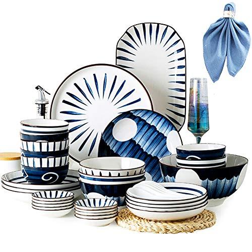 HGFDSA 48-PCS Ceramic Dinnerware Set, Combi-Set Porcelain Tableware Set of Bowls/Dessert Plates/Soup Plates/Dinner Plates Service for 8, Home Gift Family Party(Gift Cotton Napkins 1)