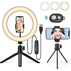 LEDリングライト Yibaision 撮影照明用 ライト 10インチ 3色モード 10段階調光 USBライト 卓上スタンド スマホ ホルダー付き 自宅撮影/Youtubeビデオ/tiktok/自撮り写真/美容化粧/カメラ 照明キット