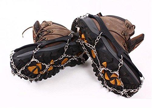 Baisde Crampones de Hielo 12 Garras de Dientes de Acero Inoxidable Zapatos Antideslizantes Cubierta para Nieve de esquí al Aire Libre Senderismo Escalada