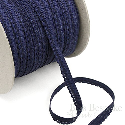 5 Yards of Luna Thin, Sweet Lingerie Elastic, Navy Blue, Made in Italy