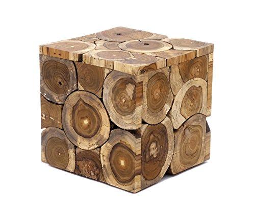 Mesa auxiliar de diseño de madera de teca auténtica, taburete de teca, estilo rústico, elegante (mesa - pequeña 29 x 29 x 29 cm), color natural