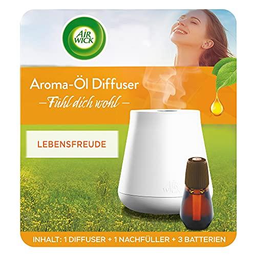 Air Wick - Difusor de aceite aromático – Juego de iniciación con difusor y frasco de fragancia, funciona con pilas, aroma de alegría de vivir, 1 x 20 ml de aceite esencial + difusor