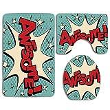 Burbuja cómica en Estilo Pop Art con Impresionante y All Star Icon Humor Cartoon 3Pcs Juego de alfombras de baño Alfombra de baño Antideslizante + Alfombrilla de baño en Forma de U + Funda de Asiento