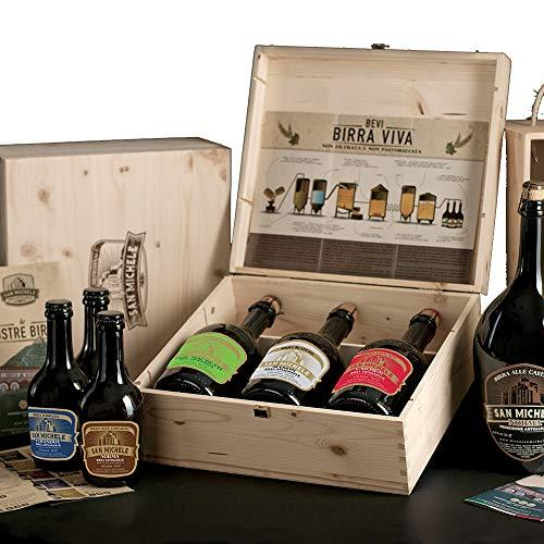 Scatola legno 3x0,75L - Birra Artigianale San Michele - Selezione assortimento Super Premium 3 diversi stili