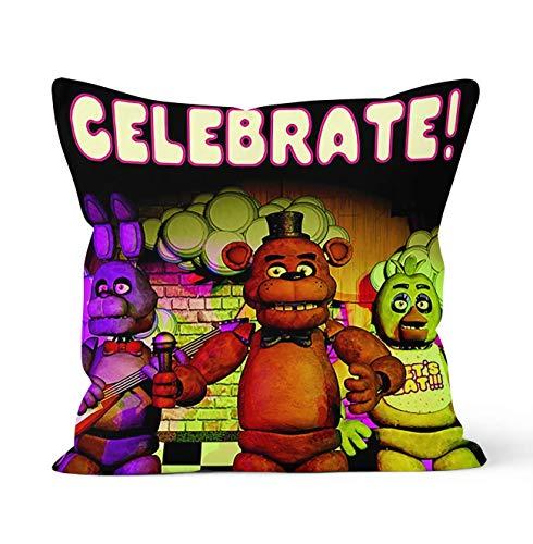 YHML Fundas de almohada decorativas de doble cara con cierre de cremallera oculto, regalo de 5 noches en Freddy's para decoración del coche, sofá cama, tamaño 45 cm x 45 cm