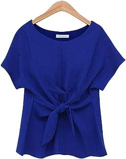 Jojckmen Women Chiffon Solid O Neck Blouse Short Sleeve Front Bow Tie Top Tees