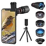 Selvim Kit d'Objectif Smartphone, Téléobjectif x22, Objectif Macro x25, Objectif Fisheye 235° , Objectif Grand Angle x0.62, Lentilles Blu-ray Version Améliorée, Compatibilité Universelle