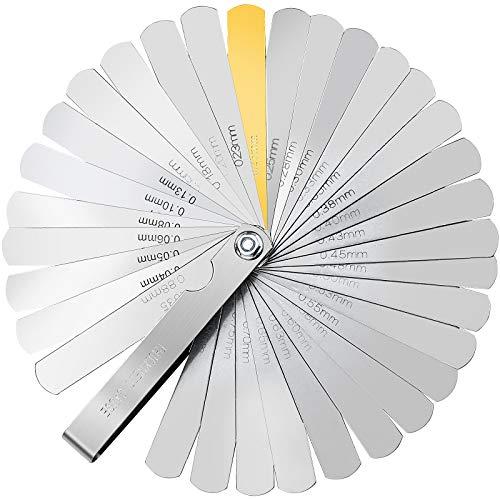 KUPINK 32 Cuchillas Galga Acero Galgas Reglaje Valvulas Galgas de Espesor Herramienta de Medición de Doble Métrica Marcada e Imperial Gap