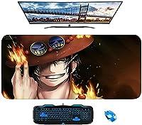 人気のアニメワンピースラージゲーミングマウスパッド耐久性のあるステッチエッジ滑り止めラバーベース900x400キーボードパッドデスクカバー用デスクパッド、コンピューターキーボード、PC-A_800X300X3mm