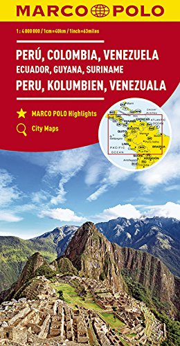 MARCO POLO Kontinentalkarte Peru, Kolumbien, Venezuela 1:4 000 000: Ecuador, Guyana, Suriname, Panama, Costa Rica, Nicaragua, Honduras, El Salvador (MARCO POLO Kontinental-/Länderkarten)