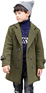 Sufoen 子供 防寒 ハーフ丈 ラシャコート 折り襟 腰に締める帯 ボーイズ 中綿 テラジャケ コート キッズ 男の子 冬