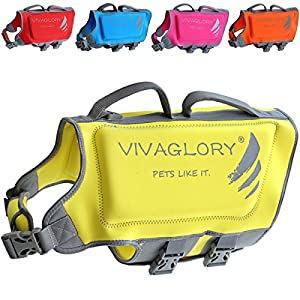 Vivaglory Dog Life Jacket, Neoprene Life Jackets for Pets with Dual Rescue Handles and Superior Buoyancy, Lemon Yellow, Large