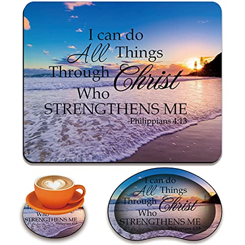 Mouse pad + Coaster + Mouse Wrist Rest Support Set, Ergonomic Mouse Wrist Rest with Memory Foam, Comfortable and Light, Suitable for laptops/Games, Beach Quoting Bible Verse Philippians 4-13