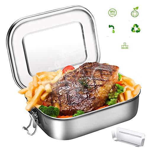 Fiambrera, Fiambrera de acero inoxidable, Bento Box de metal para evitar fugas, Lunchbox 1400ml, capacidad con compartimentos, la gran fiambrera para adultos y niños