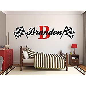 Custom Name Racing Monogram Wall Decal Boys Nursery Room Vinyl Wall Graphics Bedroom Decor