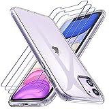 Losvick Coque pour iPhone 11, 2 Pack Verre Trempé Protection écran, Transparent Silicone TPU Etui...
