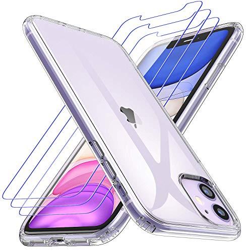 Losvick Klar Silikon Kompatibel mit iPhone 11 Hülle, 3X Panzerglas Schutzfolie Handyhülle TPU Anti-Gelb Schutzhülle Stoßfänger Stoßfest Staubdicht Case Cover für iPhone 11-6.1Zoll - Transparent