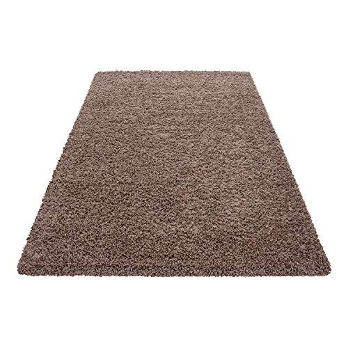 Teppich Hochflor Shaggy Teppich Unicolor einfarbig Teppich farbecht Pflegeleicht, Maße:140 cm x 200 cm, Farbe:Kaffee
