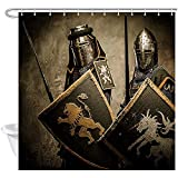 D-M-L Mittelalterlicher Europäischer Ritter-Duschvorhang, Soldat In Der Rüstung, Die Schwert-Schild-Verbesserungs-Polyester-Bad-Vorhang-Badezimmer-Zusätze Hält 122X183CM