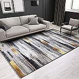 Tinyboy-hbq Teppich Artistic Traditional Wohnzimmer Schlafzimmer Teppich Anti Rutsch Kurzer Plüsch Teppiche Weiche Moderne Plüsch Teppiche Geeignet für Wohnkultur (160 x 200 cm, Schwarzes Gold)