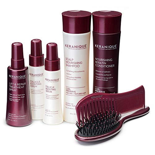 Keranique Curl Preserve Thicker Fuller Hair Growth System for Thinning Curly Hair with Anti Hair Loss Shampoo and Conditioner, Instant Lift Treatment Spray, Follicle Boosting Serum and Brush / Comb