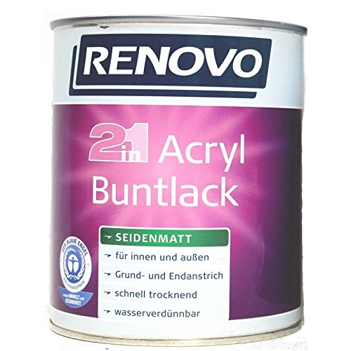 Renovo 2 in 1 Acryl Buntlack, 0,75 Liter 6002 Laubgrün seidenmatt