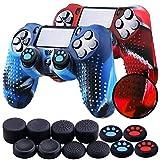 Th-some Fundas para Mando Sony PS4/ PS4 Pro/ PS4 Slim Dualshock 4, Silicona Camuflaje Carcasa Protectora Antideslizante para Play 4/ Playstation 4 (2 Pcs Camuflaje Rojo Azul)