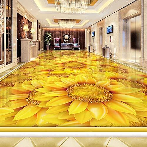 Papel pintado autoadhesivo personalizado para suelo moderno girasol planta flor 3D baldosas mural sala de estar dormitorio decoración del hogar pegatinas-300 * 210 cm