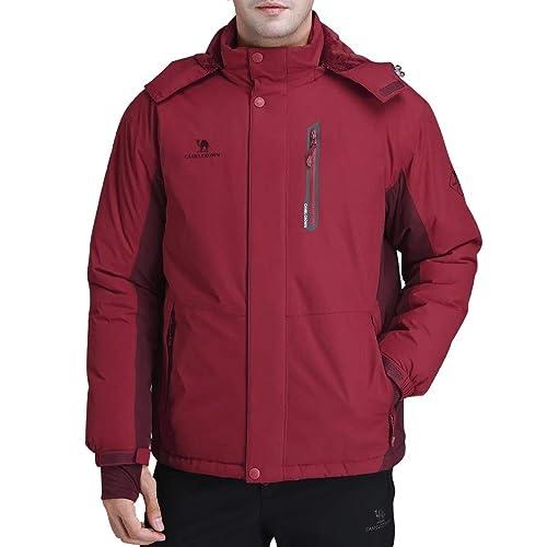 a719e80a911 CAMEL CROWN Men s Mountain Snow Waterproof Ski Jacket Detachable Hood Windproof  Fleece Parka Rain Jacket Winter