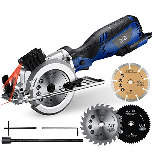 Circular Saw, Homitt 5.8A 3500RPM Compact Saw with Laser Guide, 3 Saw Blades(4-1/2'), Max Cutting Depth 1-11/16'(90°), 1-1/8'(45°), Ideal for Soft Metal, PVC, Wood, Tile and Plastic Cuts