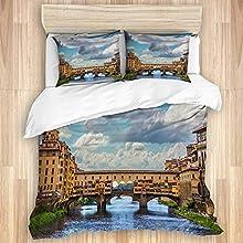 MATEKULI Bedding Juego de Funda de Edredón,Construcción del Puente Azul del Renacimiento Mediterráneo Italiano de Florencia Florencia Florencia,Funda de Nórdica y 2 Fundas de Almohada-(Cama 240x260cm)