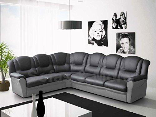 Texas Corner Sofa Black and Grey Faux Leather