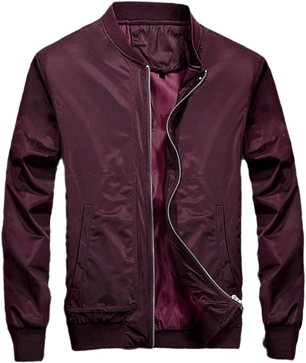 Men's Bomber Jacket Thin Baseball Jacket Coat Solid Color Casual Jacket Coat