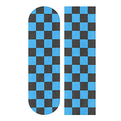 YYZZH Blue Checkered Gingham Plaid Pattern Square Design Skateboard Grip Tape 9