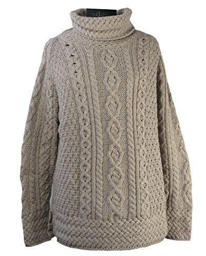 Aran Wollen Mills Pullover Maglione a Collo Alto 100% Lana Merino (Vimini, M)