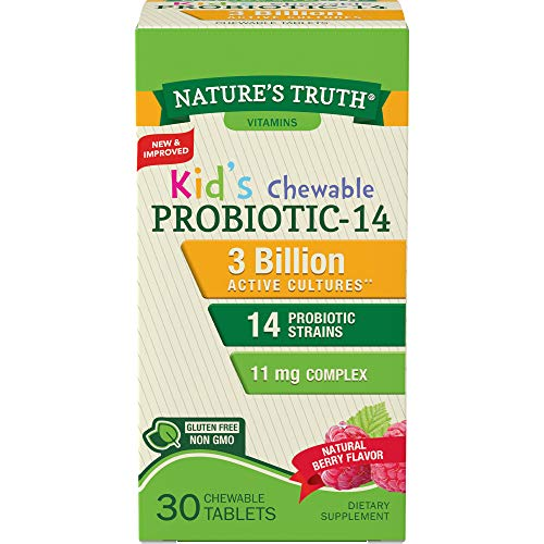 Nature's Truth Probiotic Kids Chewable 3 Billion Supplement, Natural Berry, 30 Count
