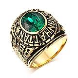 VNOX Anillo universitario de acero inoxidable Manhattan con cristal verde CZ para regalo de graduación para hombre y mujer, chapado en oro