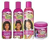 African Pride - Lot de 4 soins démêlants Olive Miracle Dream Kids - shampoing 355 ml/après-shampoing 355 ml/huile hydratante 236 ml/après-shampoing sans rinçage 425 g