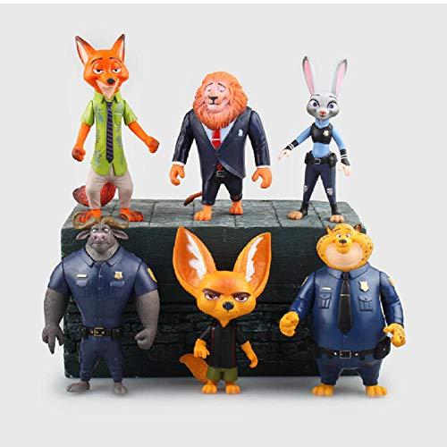 Estatua De Anime6 Unids/Set Zootopia Judith Muñeca Anime Figura Colección De Juguetes Modelo De Juguete Figura De Acción para Amigos Regalo 10-12 Cm