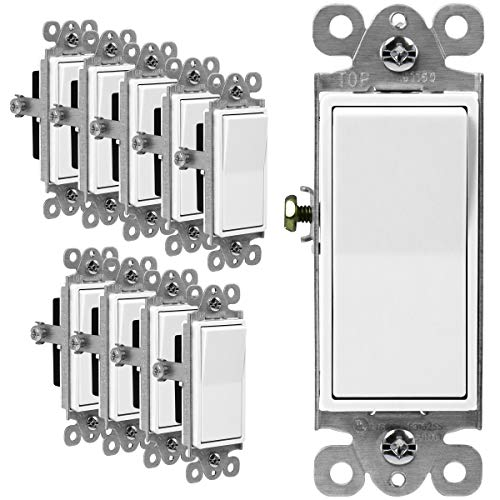 ENERLITES Illuminated Decorator Paddle Light Switch, Single Pole, Push-in and Side Wiring, Copper Wire Only, Grounding Screw, Residential Grade, 15A 120-277V, UL-Listed, 91160-W-10PCS, White 10 Pack
