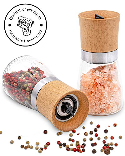 Hannah's Homebrand® Salz- und Pfeffermühle mit Keramik-Mahlwerk (härter als Stahl) - Gewürzmühle aus Edelstahl, Holz und Glas - deutsche Marke
